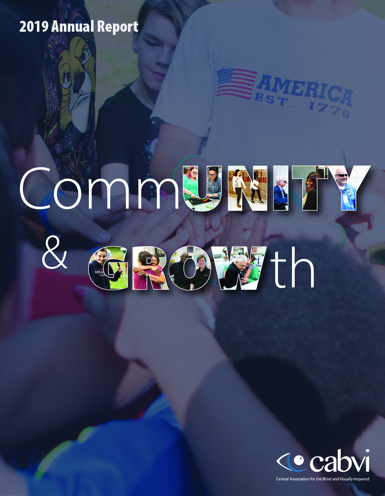 2019 Annual Report cover with the words Community and Growth, and a circle of hands
